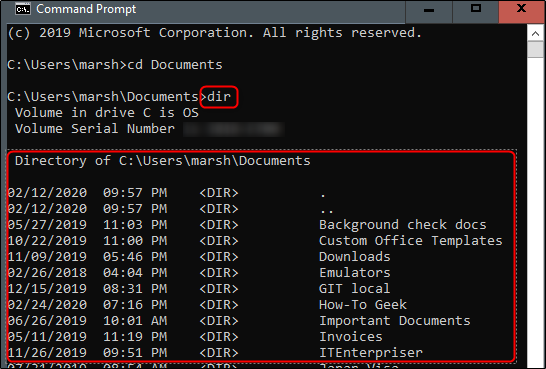 "The ""dir"" command and a directory's contents in Command Prompt."