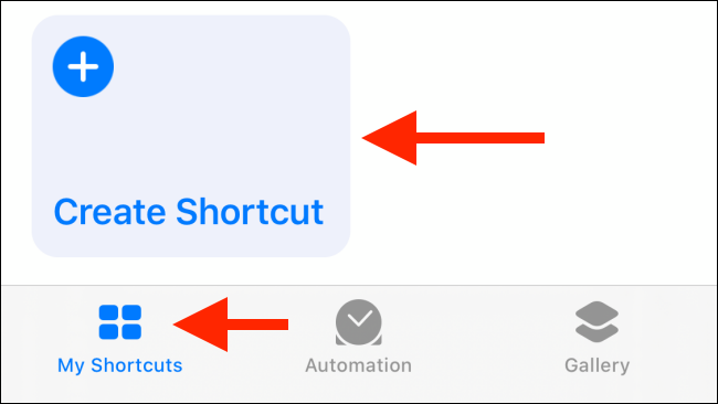 Tap the Create Shortcut button in my shortcuts