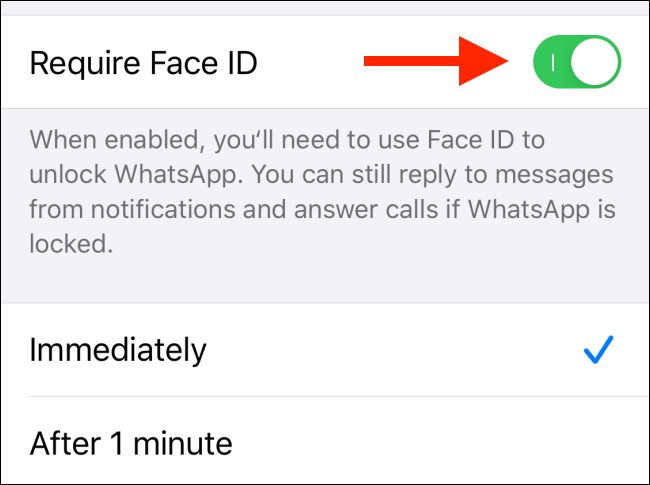 """Toggle-On """"Require Face ID."""""""