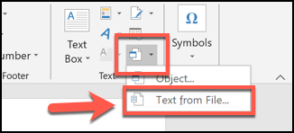 Click the arrow next to the Object button, and then choose Insert from File