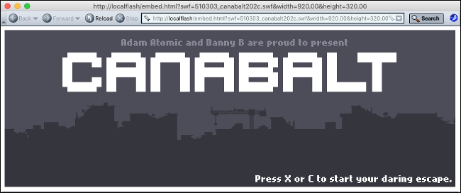 "The Flash Game ""Canabalt"" in Flashpoint."