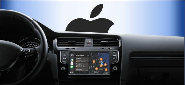 Apple CarPlay on a vehicle infotainment screen with the Apple logo outside the windshield.