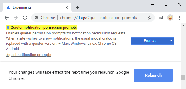 The quieter notification request flag in Google Chrome 80
