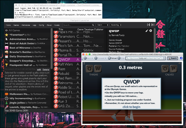 "The game ""QWOP"" in Flashpoint on macOS."