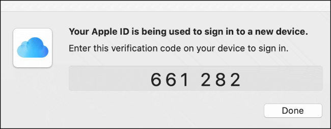 A two-factor authentication code for an iCloud sign in, shown on a macOS device