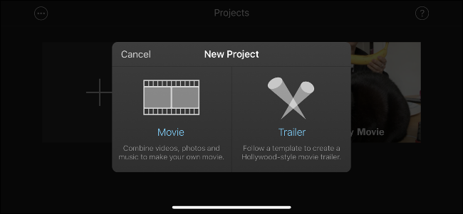 """The """"New Project"""" menu in iMovie."""