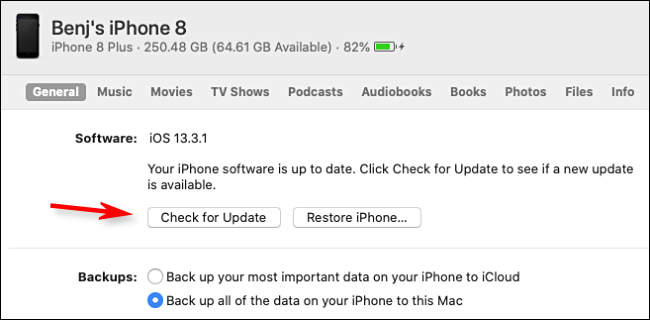 """Click """"Check for Update."""""""