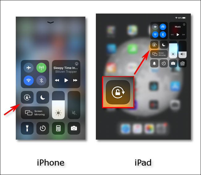 Tap the Orientation Lock icon on your iPhone and iPad.