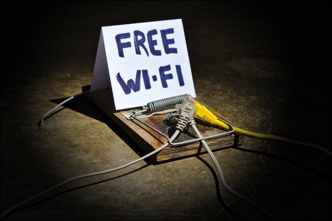 "A mousetrap with a ""free Wi-Fi"" sign."