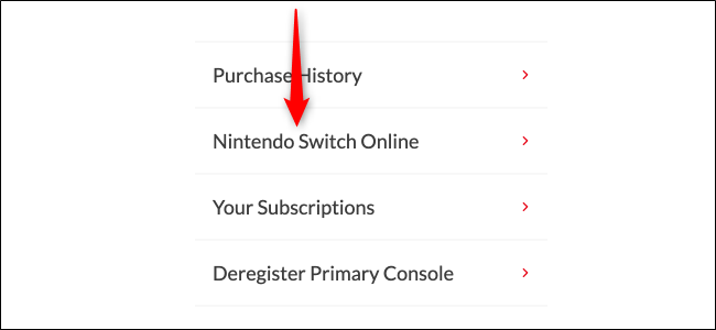 Nintendo Switch Online Page