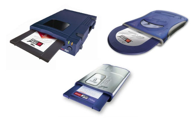 The 100 MB Zip Drive, the 250 MB Zip Drive, and the 750 MB Zip Drive.