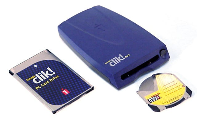 The Clik! PocketZip Drive and the Clik! Deck drive.