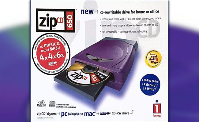 A vintage ad for the Iomega ZipCD drive.