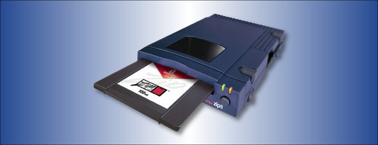 An Iomega Zip Drive with a disk half inserted.