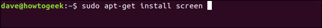 """The """"sudo apt-get install screen"""" command in a terminal window."""