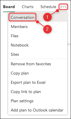 The plan's Settings menu with the Conversation option highlighted.