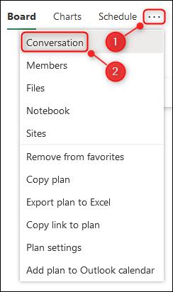 El menú Configuración del plan con la opción Conversación resaltada.