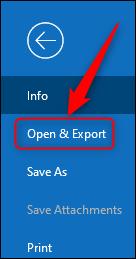 """Opción """"Abrir y exportar"""" de Outlook."""