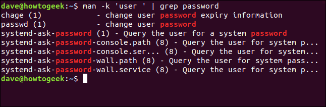 "The ""man -k 'user ' 