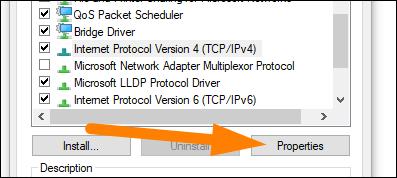 "Select ""Internet Protocol Version 4."""