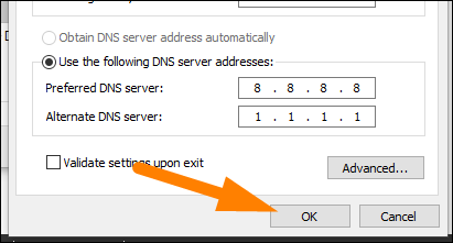 """Type the DNS server addresses, and then click """"OK."""""""