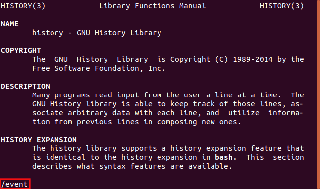 "The ""/event"" command on the ""history man"" page in a terminal window."