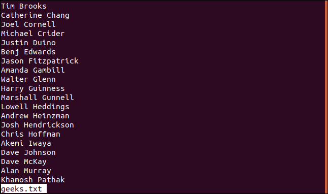 "Output from the ""less geek.txt"" command in a terminal window."