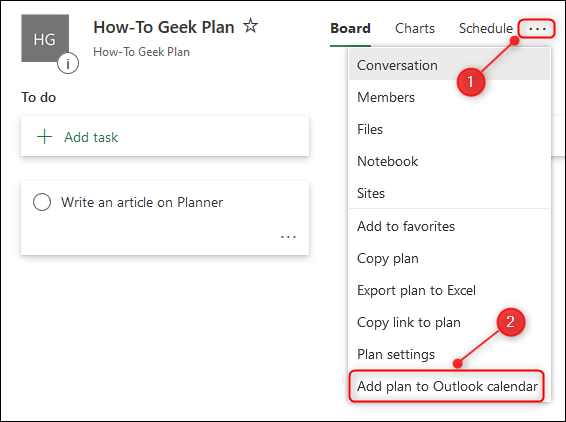 "The Planner context menu with the ""Add plan to Outlook calendar"" option highlighted."