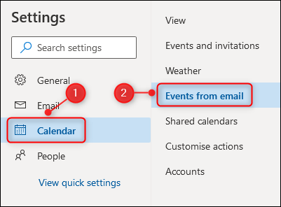 """The """"Calendar"""" and """"Events from email"""" options."""
