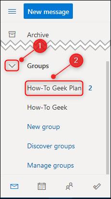 El plan en el panel de navegación de Outlook.