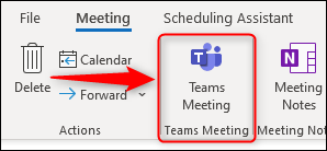 "The ""Teams Meeting"" option in a new meeting request."