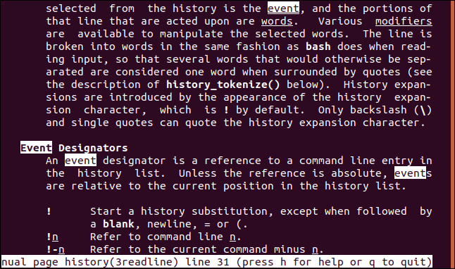 "A ""history man"" page with search results for ""event"" highlighted in a terminal window."