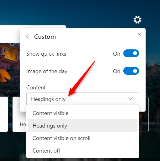 You can choose whether or not to see all the Microsoft News feed from the dropdown menu.