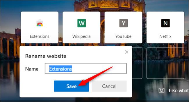 "Enter a name and click ""Save."""