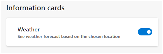 Weather information cards can be toggled at the bottom of the page.