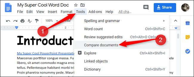 Click Tools > Compare Documents.