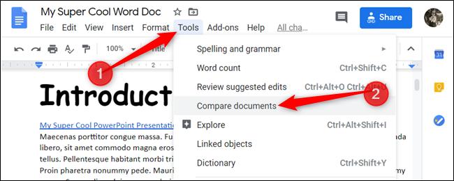 Click Tools > Compare Documents.