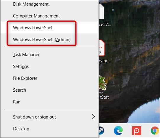 "Click ""Windows PowerShell"" or ""Windows PowerShell (Admin)."""
