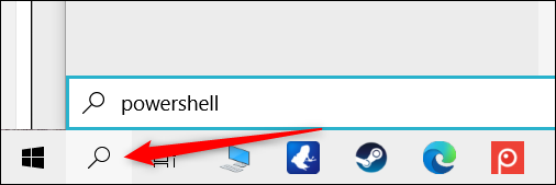 """Click the Search icon and type """"powershell"""" in the text box."""
