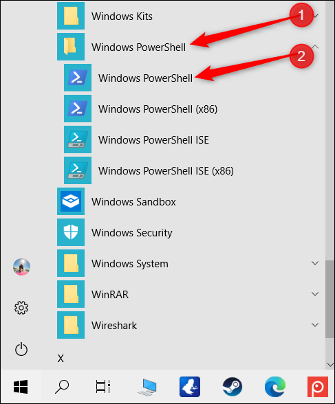 """Click the """"Windows PowerShell"""" folder, and then click """"Windows PowerShell."""""""