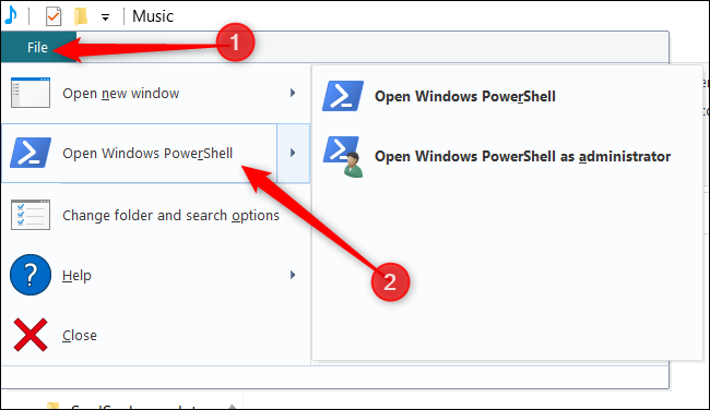 """Click """"File,"""" hover over """"Open Windows PowerShell,"""" and then click your preferred option."""