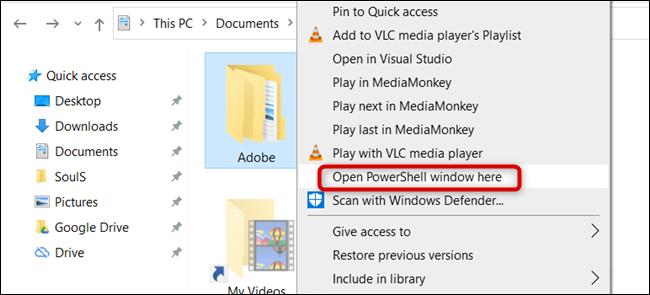 "Click ""Open PowerShell Window Here."""