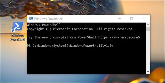 "A ""Windows PowerShell"" window opened from a desktop."