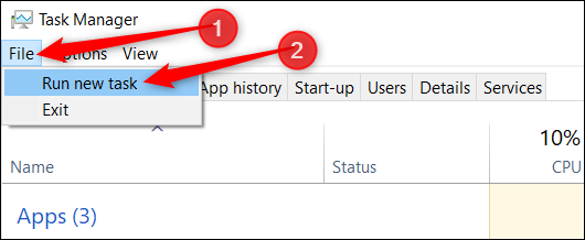 """Click """"File,"""" and then click """"Run New Task."""""""