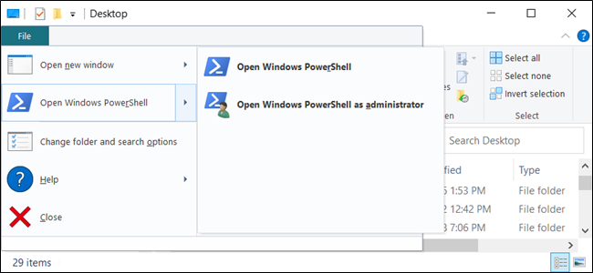 "The ""Open Windows PowerShell"" option in File Explorer."