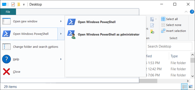 "The ""Open Windows PowerShell"" option in File Explorer."