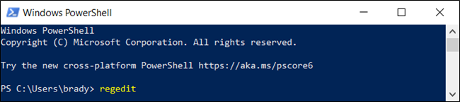 "The ""regedit"" command in a ""Windows PowerShell"" window."