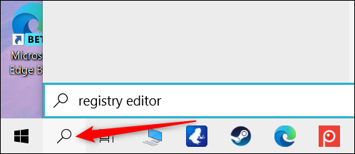 """Click the Search icon, and then type """"Registry Editor"""" in the text box."""