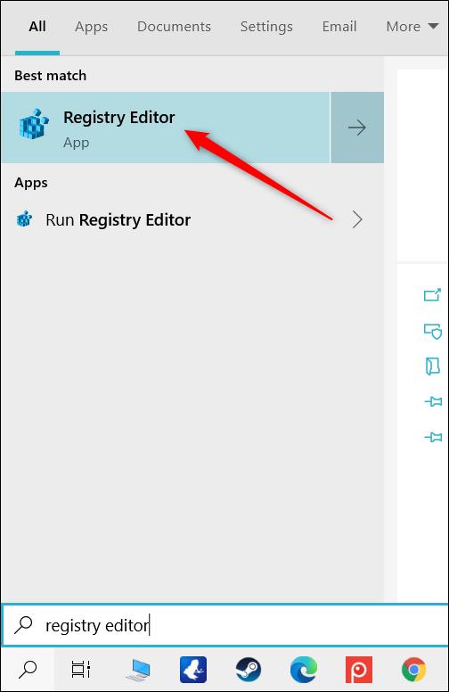 """Click """"Registry Editor."""""""