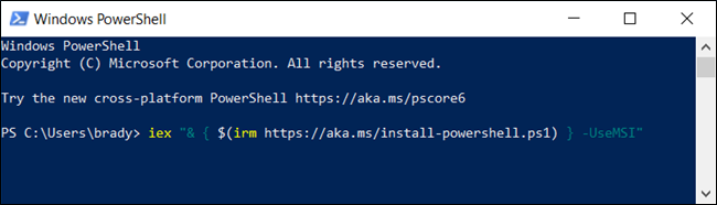 Type the following command in to download the MSI package from PowerShell.